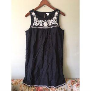 NWT J. Crew Embroidered Black & White Linen Dress
